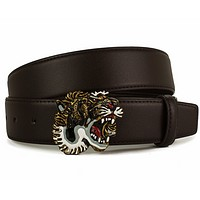 GUCCI men's leather double g color tiger head buckle leather waistband