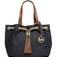 MICHAEL Michael Kors Marina Denim Large Gathered Tote - Denim/Luggage
