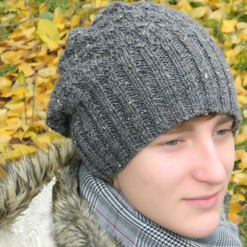 Teen Boy Slouchy Beanie, Boys Hippie hat, hipster beanie, Skater slouch, Teen boy knit gray winter hat, knitted chunky hat, Boyfriend gift