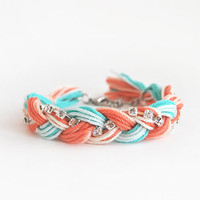 Friendship bracelet, coral and mint bracelet with rhinestone chain, coral and mint braid bracelet