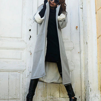 Grey Maxi Coat / Long Loose Jacket / Casual Pocket Coat / Folded Sleeve Plus Size Cardigan by METAMORPHOZA