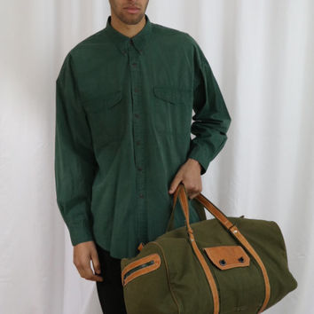 80's canvas and leather travel bag / green canvas duffel / weekender bag / Tc037