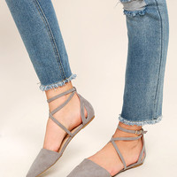 Rayna Grey Suede Pointed Flats