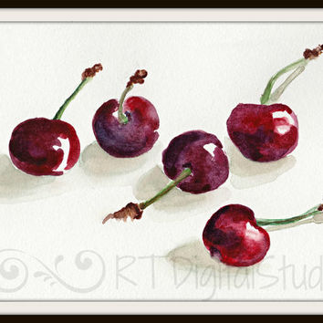 Cherries in Watercolor Print - Kitchen decor, Food Art, Original Watercolor, Botanical Art, Vegetable Garden Art