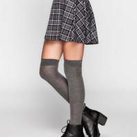 Full Tilt Plaid Ponte Skater Skirt Black/Grey  In Sizes
