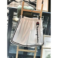 Champion Summer Men and Women Couples Casual Vertical Embroidery Ribbon Shorts F-AG-CLWM white