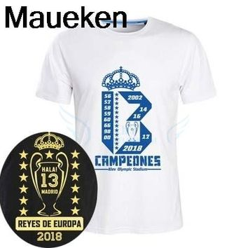 2018 Real Reys De Europa Short Sleeve 13 Champions T-Shirt Man Casual For Hala Madrid Ronaldo Fans Gift T Shirt