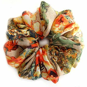 Beige Bright Flowers Scrunchies for Hair Large Chiffon Designer Accessories Elastic Hair Ties Headband Ponytail Holder