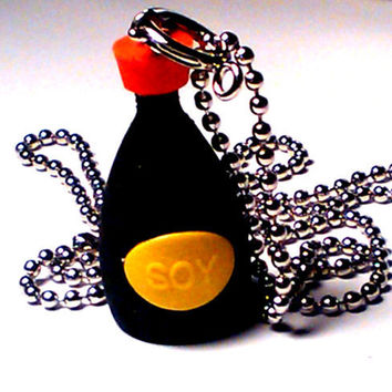 Cute Soy Sauce Kawaii Food Charm Necklace