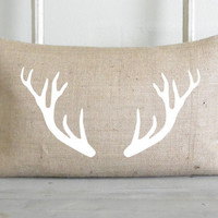 White Antlers Burlap 16 x 26 Pillow Cover