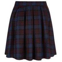New Look Mobile | Plum Check Box Pleat Skater Skirt