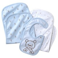 Precious Firsts  Made by Carters ® Newborn Boys' 3 Pack Bib/Burpcloth with Bear Set - Blue