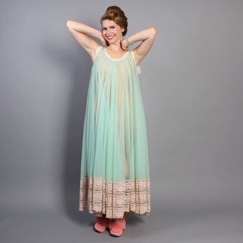 61c6a5710dee 60s Mint Green NIGHTGOWN   Full Sweep Sheer Miss Elaine Nightie