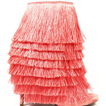 "Nelly Mambo Blush Fringe Open Toe Ankle Boot Booties - 4.75"" Heels"
