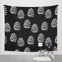 Pine Cones Monochrome on Black Wall Tapestry by Lisa Argyropoulos | Society6