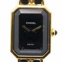 CHANEL Premiere M Watch Leather Strap Black Quartz H0001 0630