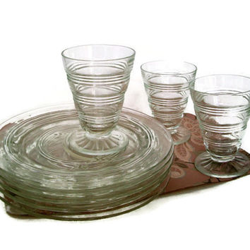 Vintage Anchor Hocking, Snack Plates & Glasses, Banded Ring, Depression Glass, 1927-1933, Set of 3, 2 Extra Plates, Vintage Kitchen