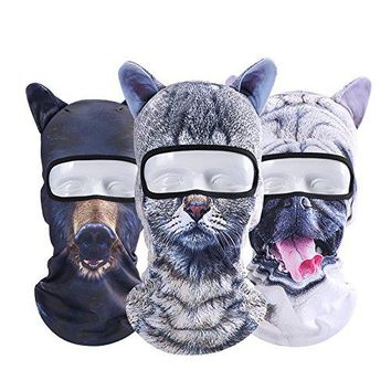 3D Cat Dog Animal Balaclava, Winter Ski Mask Snowboarding Balaclava Motorcycling Mask Full Face Head Hood Windproof Hats for Costume Cosplay Halloween Party