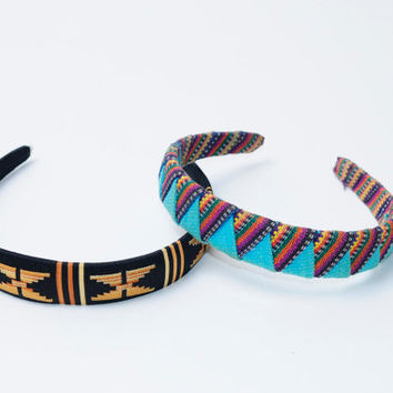 Vintage 80s/90s Colorful Tribal Ethnic Handmade Hair Head Bands
