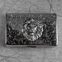 Cigarette Case Lion Large Size Vintage Style Silver Plated Gothic Victorian Steampunk Leo Father's Day Metal Wallet