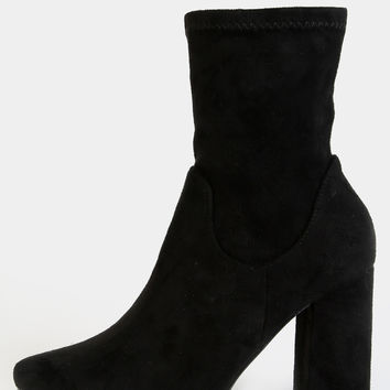 High Shaft Chunky Heel Boots BLACK | MakeMeChic.COM
