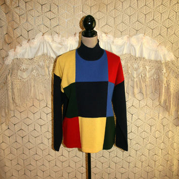 80s Womens Pullover Sweater Large Wool Colorblock Mock Turtleneck Boxy Geometric Squares Colorful Jones New York 1980s Vintage Clothing