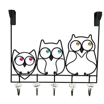 Boston Warehouse Over The Door Accessory Holder with Five Jeweled Knobs, Jeweled Owl
