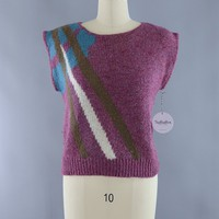 Vintage 1980s Sleeveless Sweater / Purple Abstract
