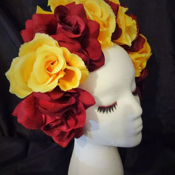 Yellow Burgundy Silk Roses Floral Crown Flower Headband Frida Kahlo Rose Day of the Dead Dia de los Muertos Floral Headpiece Headdress