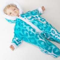 """bitty baby clothes boy 15"""" girl twin doll Handmade Snowsuit Turquoise Leopard Pt"""