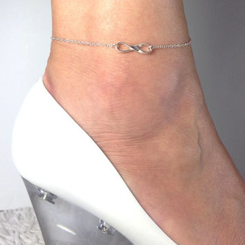 Silver Infinity Anklet, Silver Eternity Anklet, Bridal Jewelry, Delicate Anklet, Gift for mom, girlfriend, Foot jewelry, Ankle Bracelet