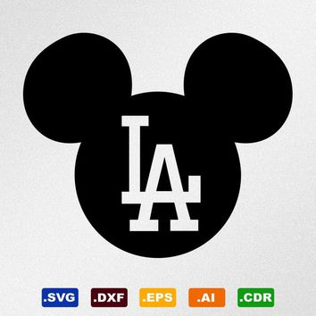 Mickey Mouse Los Angeles Dodgers Svg, Dxf, Eps, Ai, Cdr Vector Files for Silhouette, Cricut, Cutting Plotter