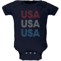 DCCKU3R 4th of July Vintage 70's Paralines USA Soft Baby One Piece