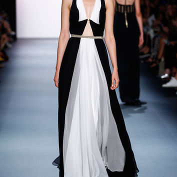 Jenny Packham Colorblock Sleeveless A-Line Gown, Black/White