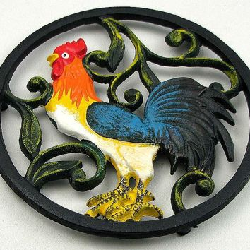 Colorful Cast Iron Rooster Trivet