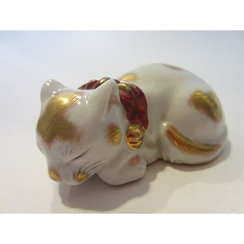 Japanese Ceramic Cat Signed Gold Decorated Red Accent Miniature Art