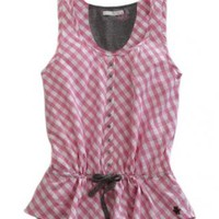 Pink Check Tin Haul Collection Sleeveless Urban Western Wear