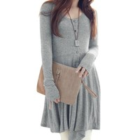 Allegra K Fall Winter Women Long Sleeve High Low Short Tee Dress Gray M