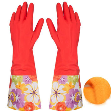 May 11 Mosunx Business Rubber Latex Dish Washing Cleaning Long Warm Gloves Household Kitchen Car