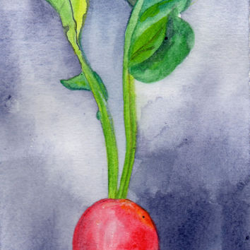 Radish Watercolor Painting, Painting of Food, Kitchen Painting, Home Decor