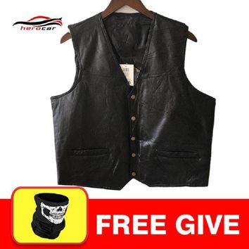 Trendy New Motorcycle Jacket Mens Genuine Leather Vest Punk Retro Classic Style Biker Club Casual Vest Moto Clothing Motorcycle Jacket AT_94_13