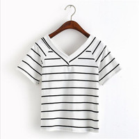 harajuku shirt summer t kawaii korean cute v-neck striped women basic tops