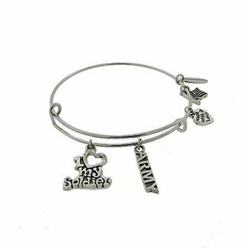 I Love My Soldier quot Army quot Silver Tone Expandable Wire Bracelet