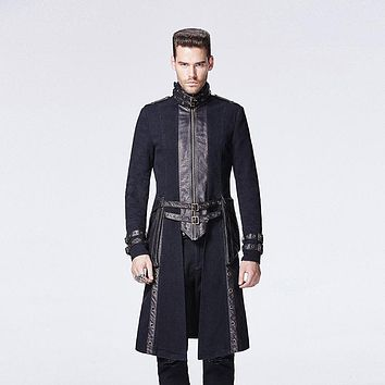 Steampunk Autumn Winter Men Coat with High Collar Gothic Punk Black Casual Long Coats Warm Overcoats