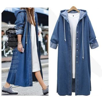 Hooded Long Sleeved Denim Jacket Single-Breasted Mid-Length Trench Coat