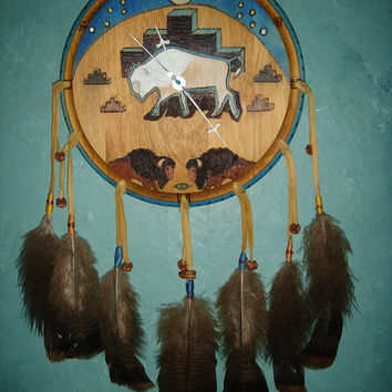 Sacred White Buffalo Clock Wood Burned and Colored on Pine With Gifted Feathers and Crafted Beads