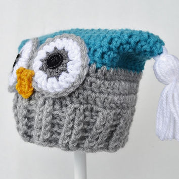 Crochet Owl Hat, 3 to 6 mo, Blue and Grey, Ready to Ship