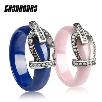 Beautiful Blue Pink Ceramic Ring With Stainless Steel Belt Buckle Shining Crystal For Women Girl Wedding Engagement Party Gifts
