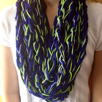 Seattle Seahawks Infinity Chain Scarf, Navy and Green Scarf, Infinity Scarf, Crochet Chain Scarf