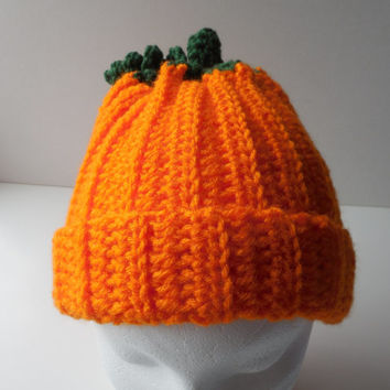 Pumpkin Hat - Orange - Crochet - Handmade - Reduced Price - Clearance - Ready to Ship